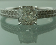 Colorless Diamond Ring: 1.01ct H SI1 Cushion Modified Brilliant Diamond Ring GIA R5853