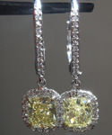 Yellow Diamond Earrings: 2.13cts Fancy Yellow SI1 Cushion Cut Diamond Halo Earrings R5674