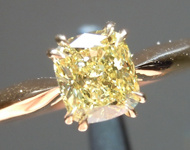 Yellow Diamond Ring: .73ct Fancy Intense Yellow I1 Cushion Cut GIA Double Prong R5712