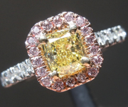 SOLD.....Yellow Diamond Ring: .70ct Fancy Intense Yellow I1 Cushion Cut GIA Pink Halo R5715