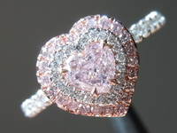 Pink Diamond Ring: .40ct Fancy Light Purplish Pink Heart Shape GIA Halo R5868