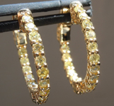 SOLD...Yellow Diamond Earrings: .99cts Fancy Yellow  Diamond Hoop Earrings R5903
