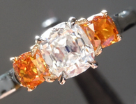 SOLD...Diamond Ring: .60ct F SI1 Old Mine Brilliant Three Stone Diamond Ring GIA R5862