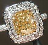Yellow Diamond Ring: 2.27ct Y-Z VS2 Cushion Modified Brilliant Double Halo Diamond Ring GIA  R5900