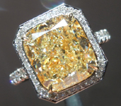 Yellow Diamond Ring: 5.01ct W-X VS2 Cushion Cut GIA Halo Ring R5824