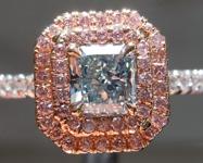 Green Diamond Ring: .71ct Fancy Green VS1 Radiant Cut Double Diamond Halo Ring GIA  R5928