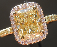 SOLD...Yellow Diamond Ring: 1.70ct Y-Z VVS2 Cushion Cut Diamond Halo Ring GIA R5916
