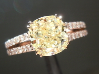 SOLD...Yellow Diamond Ring: 2.01ct Fancy Light Yellow VS1 Cushion Cut Diamond Ring GIA R5917