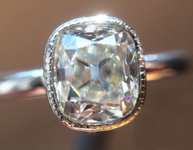 Colorless Diamond Ring: 1.01ct J VS2 Cushion Brilliant GIA Bezel Set Ring R5856