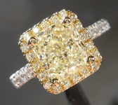SOLD.....Yellow Diamond Ring: 2.03ct O-P SI2 Radiant Cut Diamond Halo Ring R5897