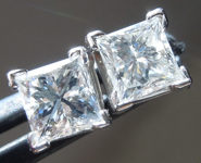 Colorless Diamond Earrings: 1.42ctw G-H SI1 Princess Cut Diamond Stud Earrings Trade in Special R5767