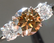 Brown Diamond Ring: 1.00ct Fancy Brownish Yellow SI2 Round Brilliant Three Stone R5881