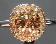 SOLD...Brown Diamond Ring: 1.13ct Fancy Brownish Yellow SI2 Round Brilliant Diamond Halo Ring R5880
