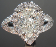 Colorless Diamond Ring: 1.01ct I SI2 Pear Brilliant Diamond Halo Ring GIA R5941