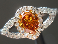 Orange Diamond Ring: .47ct Fancy Deep Yellowish Orange SI1 Pear Brilliant Diamond Halo Ring GIA  R5946