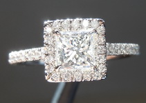 Colorless Diamond Ring: .55ct D VS2 Princess Cut Diamond Halo Ring GIA R5803