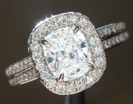 SOLD...Colorless Diamond Ring: .71ct D SI2 Cushion Cut Diamond Halo Ring GIA R5832