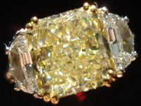 SOLD....Three Stone Ring: GIA 4.18ct Radiant Cut Yellow Diamond Hand-Engaved Plat Ring R1252