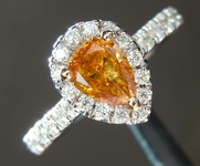 0.46ct Deep Yellow Orange I1 Pear Shape Diamond Ring R5948
