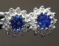 SOLD...Sapphire Earrings: 1.14ct Blue Round Sapphire and Diamond Earrings R5597