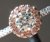 SOLD.....Diamond Ring: .41ct G SI2 Round Brilliant Pink Diamond Halo Ring R5220