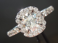 Diamond Ring: .73ct G SI2 Old Mine Brilliant Diamond Halo Ring GIA R5956