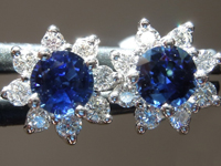 SOLD....Sapphire Earrings: .62ct Blue Round Brilliant Sapphire and Diamond Halo Earrings R4880