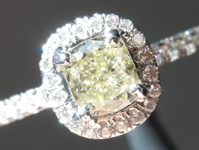 SOLD...Yellow Diamond Ring: .50ct W-X VVS1 Cushion Cut GIA Beautiful Halo R5731