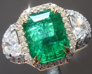 SOLD... Emerald Ring: 5.13ct Emerald Cut Emerald and Diamond Halo Ring R6031