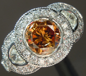 SOLD...Orange Diamond ring: .93ct Fancy Deep Brown-Orange I1 Round Brilliant Diamond Halo Ring GIA R6043