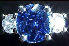 SOLD.....Colored stone Ring- 2.30ct Cushion Sapphire & Diamond Ring R1202
