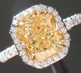SOLD...Yellow Diamond Ring: 2.15ct Y-Z VVS2 Radiant Cut Diamond Halo Ring GIA R6046