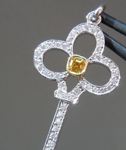 Orange Diamond Pendant: .15ct Fancy Intense Orange Yellow VS2 Asscher Cut Diamond Key Pendant R5937