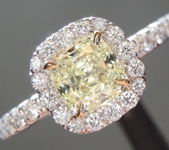 Yellow Diamond Ring: .74ct W-X Internally Flawless Cushion Modified Brilliant Diamond Halo Ring GIA R6013