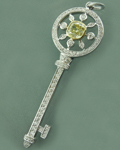 SOLD...Yellow Diamond Pendant: .91ct Fancy Light Yellow SI1 Cushion Cut GIA Diamond Key Pendant R5786