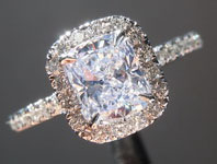 SOLD...Colorless Cushion Diamond Ring: 1.01ct D SI1 Cushion Cut Diamond Halo Ring GIA  R5932