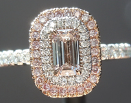 0.33ct Pink SI1 Emerald Cut Diamond Ring R6064