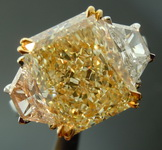 SOLD.....Light Yellow Diamond Ring: 5.27ct W-X VS2 Radiant Cut GIA Trapezoid Side Stones R5963