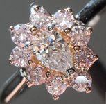 SOLD...Diamond Ring: .22ct D VS1 Pear Brilliant Pink Diamond Halo Ring GIA R6071