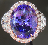 SOLD...Tanzanite Ring: 7.68ct Oval Shape Tanzanite Three Stone Diamond Halo Ring R6115