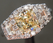SOLD.....  Yellow Diamond Ring: .71ct Fancy Yellow VS2 Cushion Cut Three Stone Diamond Halo Ring R6113