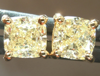 SOLD... Yellow Diamond Earrings: 1.07ctw Natural Light Yellow Cushion Cut Diamond Stud Earrings GIA R6008