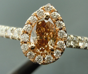 Brown Diamond Ring: .47ct Fancy Yellow Brown VS2 Pear Shape Diamond Halo Ring R6135