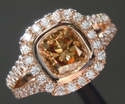 SOLD......Brown Diamond Ring: 1.00ct Fancy Yellow Brown SI1 Cushion Cut Diamond Halo Ring R6144