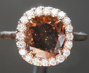 SOLD...Brown Diamond Ring: 2.11ct Fancy Deep Orangy Brown I1 Cushion Cut Diamond Halo Ring R6152