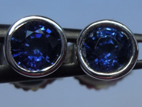 SOLD...Sapphire Earrings: 1.08ctw Blue Round Brilliant Sapphire Stud Earrings R6155