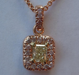 SOLD...Diamond Pendant: .31ct Fancy Light Yellow VS1 Radiant Cut Pink Diamond Halo Pendant R4257