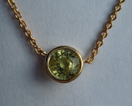 0.60ct Green Round Brilliant Sapphire Necklace R5760