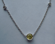 Sapphire Necklace: .59ct Yellow Round Brilliant Sapphire and Diamond Necklace R6023