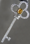 Diamond Pendant: .19ct Fancy Intense Orange Yellow Asscher Cut Diamond Key Pendant R6085